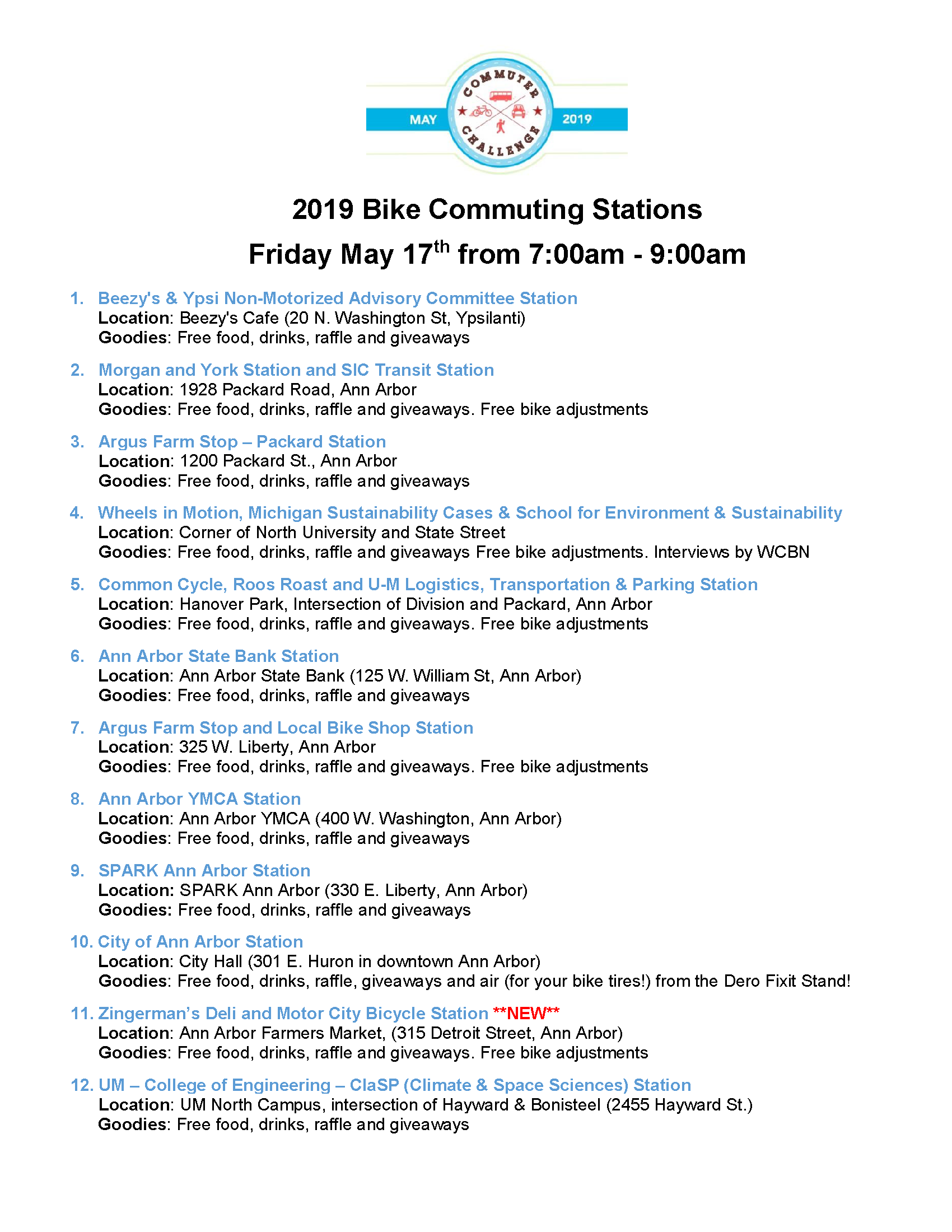 2019 Bike to Work Day Station List