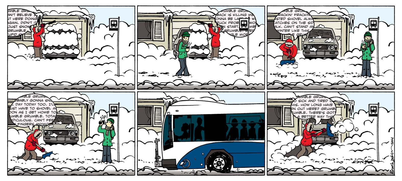 Cartoon strip. A man chooses to ride the bus over unburying his car piled in snow.